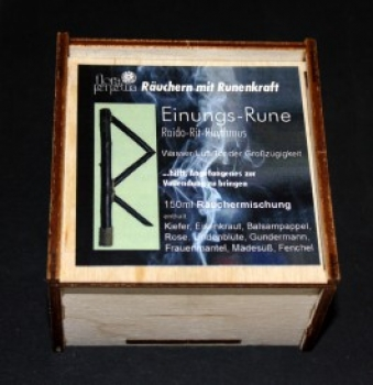 Einungs-Rune - Räuchermischung in Holzbox 150ml